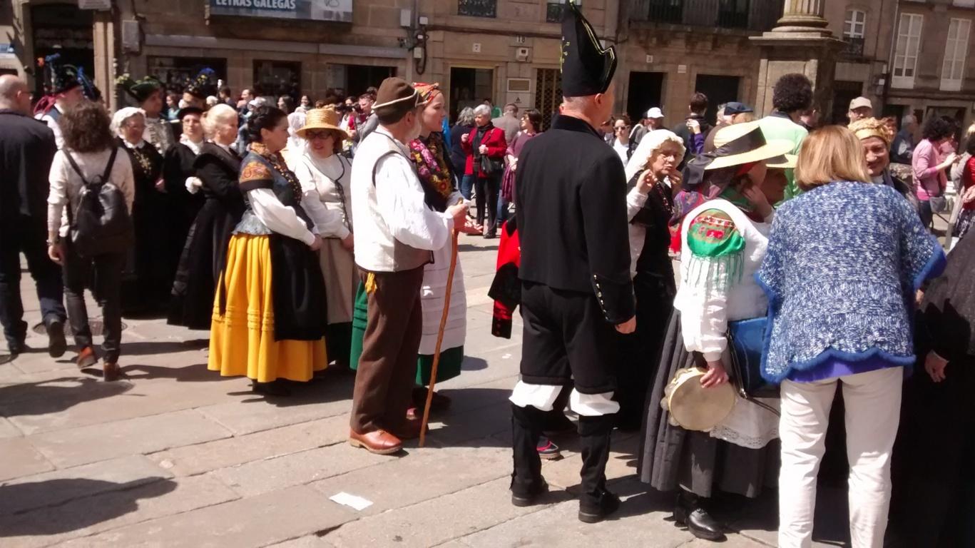 Galegos na praza de Cervantes